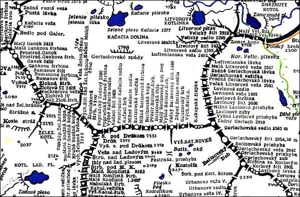 Kačací štít, mapa