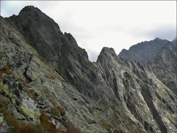 Popradský Ľadový štít, Kačací štít a Batizovský štít od Sedla pod Drúkom