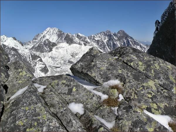 Ľadové štíty, Pyšné štíty a Lomnický štít z Východnej Slavkovskej veže