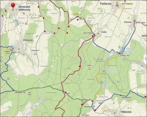 Z Hané naVelehrad, mapa 1. části cesty