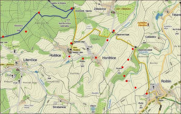 Z Hané naVelehrad, mapa 2. části cesty