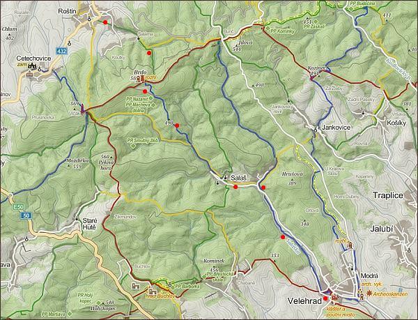 Z Hané naVelehrad, mapa 3. části cesty