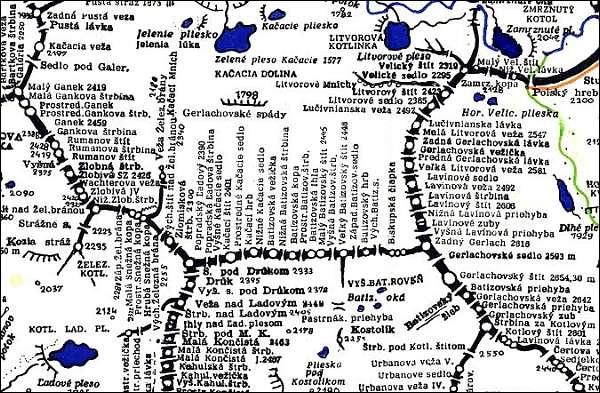 Batizovsky hrb, mapa