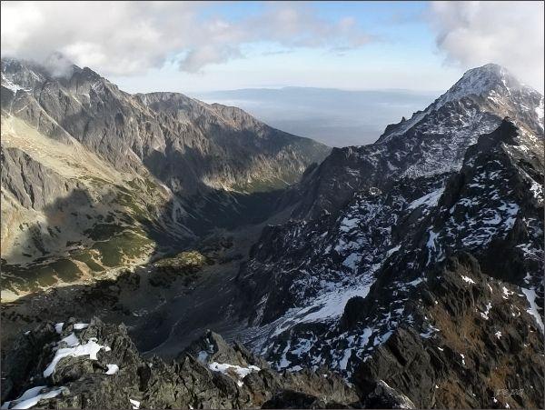 Slavkovský štít a Veľká Studená dolina ze Západnej Slavkovskej veže