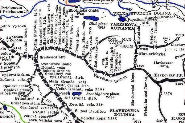 Západná Slavkovská veža, mapa