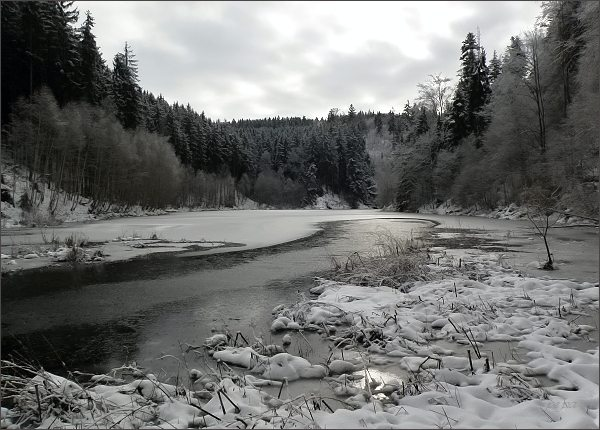 Bělá, začátek vzdutí Boskovické přehrady
