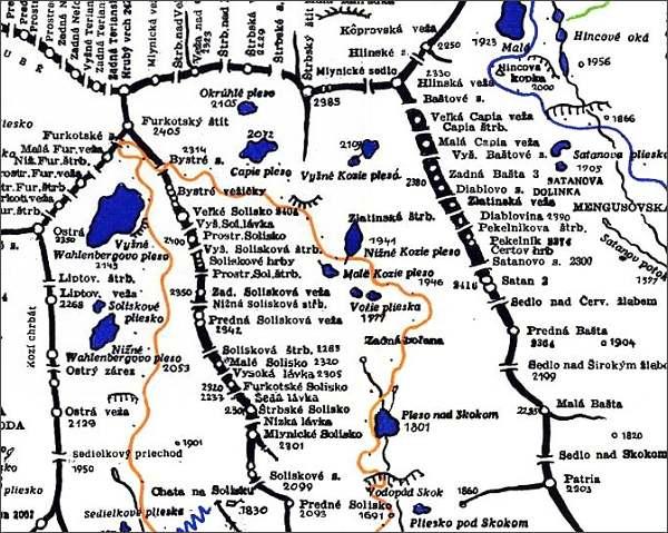 Furkotské Solisko, mapa