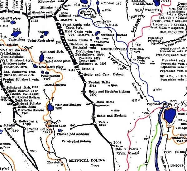 Zadná Bašta, mapa