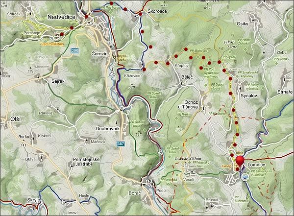 Mapa trasy z Lomnice na Pernštejn