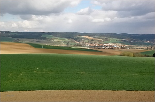 Pohled ze Spešovské rozhledny k východu. <br />V popředí Blanenský prolom ( protéká jím řeka Svitava). <br />Na horizontu Rozsocháč (Adamovská vrchovina). <br />Nejblíže obec Ráječko, vpravo Horní Lhota