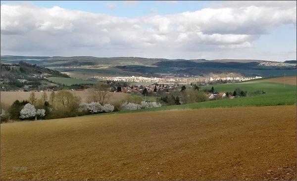 Rájec-Jestřebí ze žlutě značené turistické cesty na Hořický hřeben. <br />Vlevo na okraji města zámek Rájec nad Svitavou se zámeckým parkem