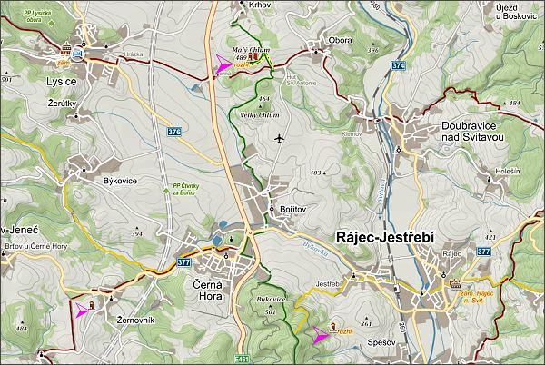 Rozhledny Malý Chlum, Spešovská a nad Žernovníkem. Mapa