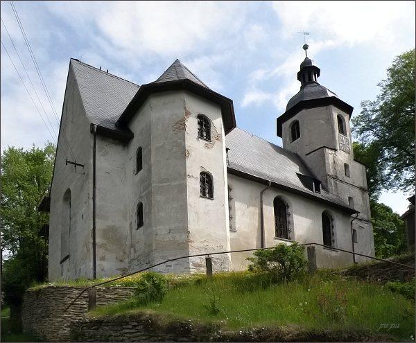 Podhradí, kostel Dobrého pastýře. Nejstarší evangelický kostel v  bývalém Rakousko-Uhersku