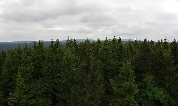 Blatenský vrch, rozhledna. Pohled na Klínovec (vpravo) a Fichtelberg