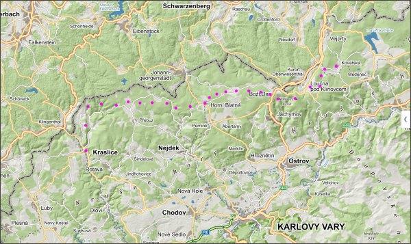 Přechod Krušných hor, den první, mapa