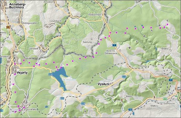 Přechod Krušných hor, den druhý, mapa