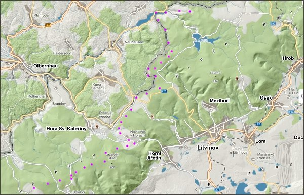 Přechod Krušných hor, den třetí, mapa