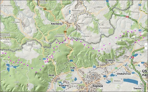 Přechod Krušných hor, den čtvrtý, mapa
