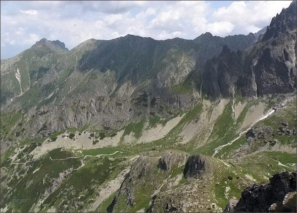 Svišťová dolina z Hrubej veže. Vlevo Široká