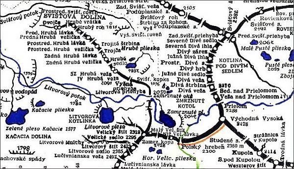 Hrubá veža, mapa