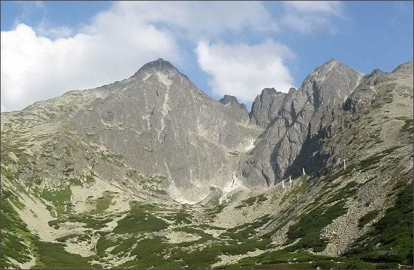 Skalnatá dolina. Vlevo Lomnický štít, vpravo Kežmarský štít. Uprostřed Vidlové veže, pod nimi Cmiter