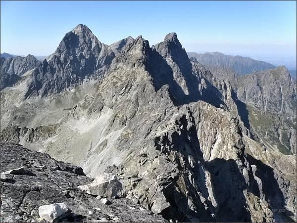 Vysoká , Rysy, Zlobivá a Ganek (zleva) z Popradského Ľadového štítu