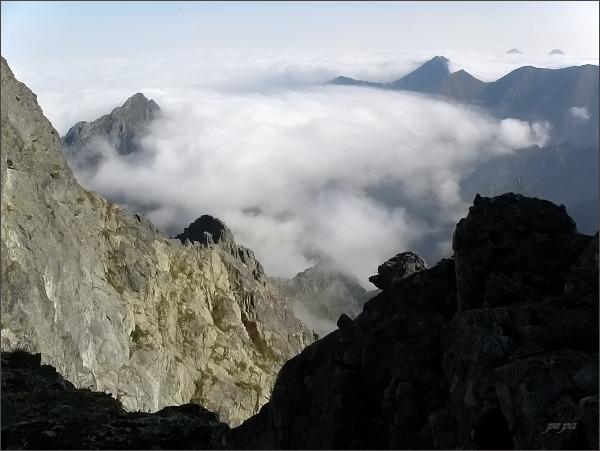 Pohled z Gankovej štrbiny na severní stranu Vysokých Tatier
