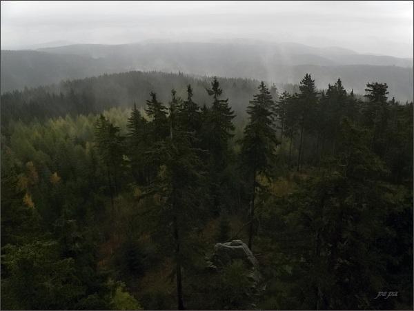 Krušné hory z rozhledny Pajndl na Tisovském vrchu