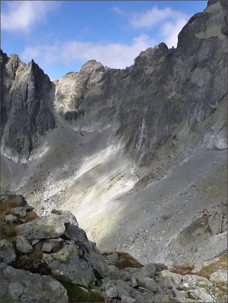 Sedlo pod Drúkom, Popradský Ľadový štít a Kačací štít z Kostolíka
