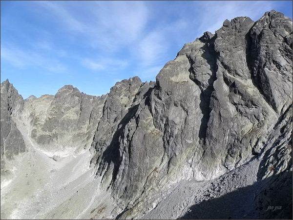Pohled z Kostolíka k severu. Drúk, Sedlo pod Drúkom, Popradský Ľadový štít, Kačací štít a Batizovský štít