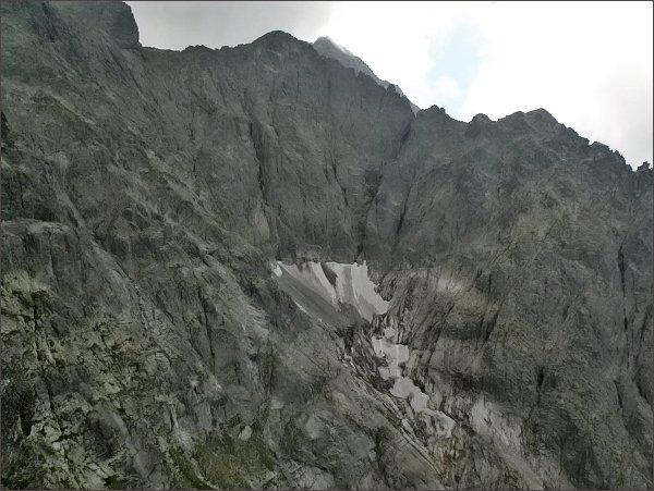 Zadný Ľadový štít, Ľadový štít a Veľká Ľadová veža z Prostrednej Snehovej veže