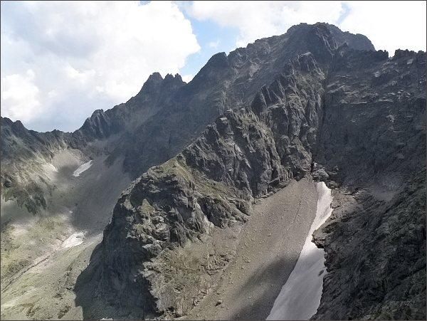 Čierne sedlo, Čierny štít a Čierne veže, Vyšná Barania strážnica a Baranie rohy nad Baraniou dolinkou