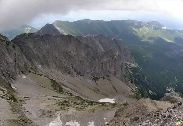 Malá Zmrzlá dolina a Karbunkulový hrebeň z Čierneho štítu
