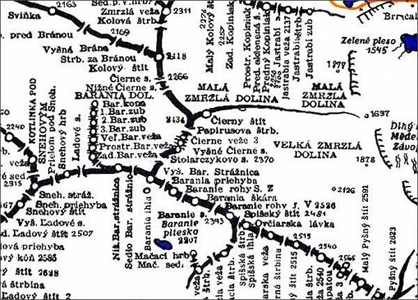 Čierny štít, mapa
