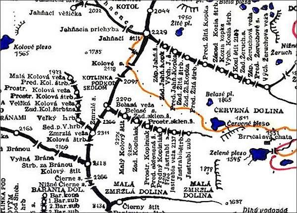 Karbunkulový hrebeň, mapa
