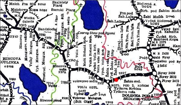 Žabí kôň, mapa