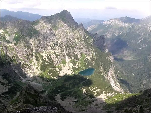 Mlynár, Ťažké pleso a Bielovodská dolina z Kačacej veže