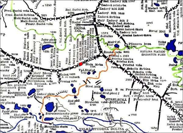 Ostrý štít, mapa