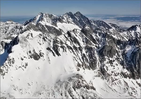 Ľadové štíty, Pyšné štíty a Lomnický štít z Gerlachovského štítu