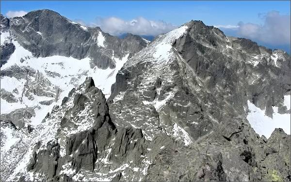 Spišský štít, Baranie rohy a Ľadový štít z Veterného štítu