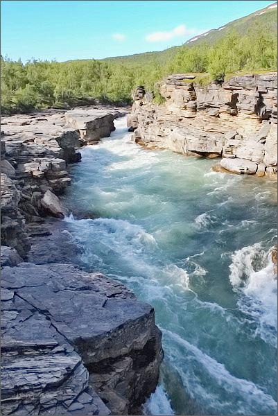 NP Abisko. Soutěsky řeky Abiskojåkka