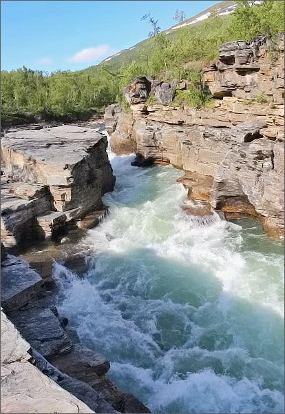 Národní park Abisko. Soutěsky řeky Abiskojåkka