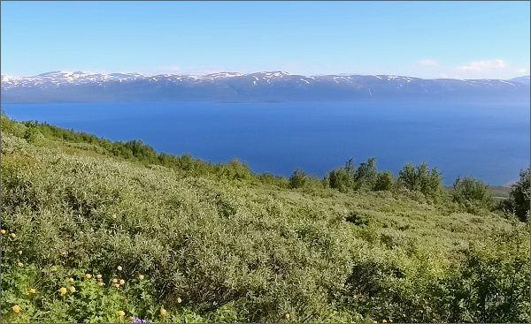 Jezero Torneträsk z úbočí hory Nuolja