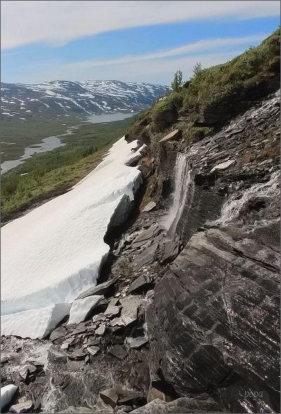 NP Abisko. Úbočí hory Slåttatjåkka