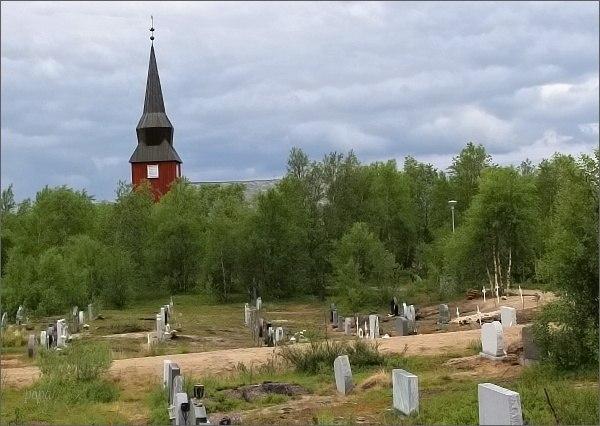 Sámský kostel a hřbitov v Kautokeinu