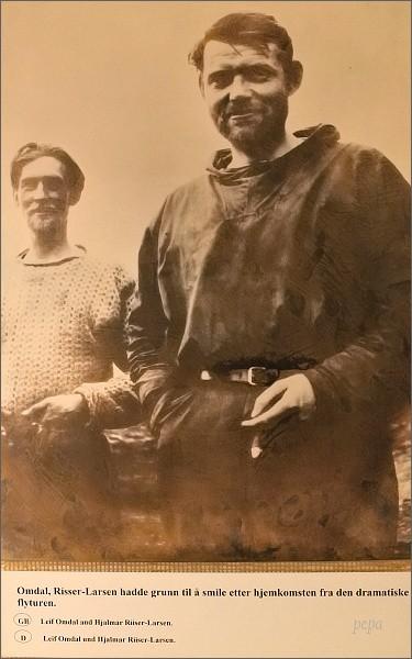 Tromsø, Polarmuseet. Na fotografii účastníci Amundsenovy výpravy v roce 1925 Oskar Omdal a Hjalmar Riiser-Larsen