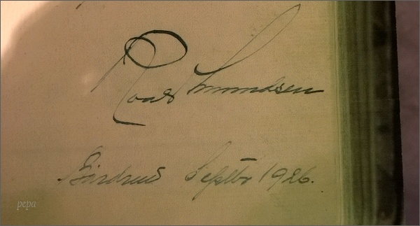 Tromsø, Polarmuseet. Podpis Roalda Amundsena