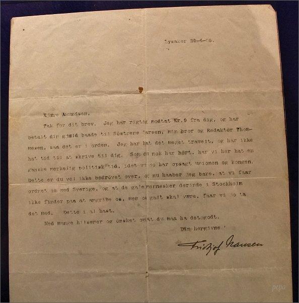 Tromsø, Polarmuseet. Dopis Fridtjofa Nansena Roaldu Amundsenovi