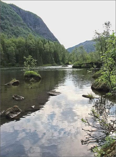 Národní park Rago. Řeka Storskogelva v údolí Storskogdalen