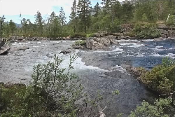 Národní park Rago. Řeka Storskogelva pod jezerem Storskogvatnet